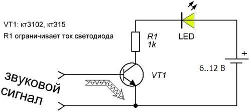 Схема цветомузыки с одним светильником