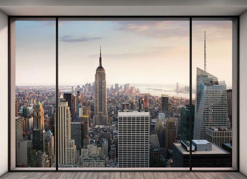Имитация окна с видом на Нью-Йорк