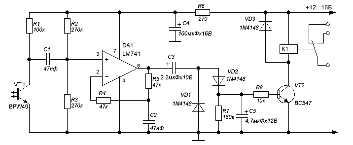 Схема приемника на фототранзисторе BPW40