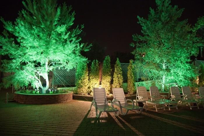 Подсветка деревьев важна в ландшафтном дизайне