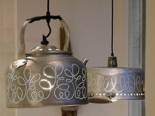 Светильники из старой посуды