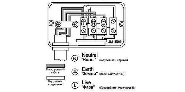 Схема подключения прожектора