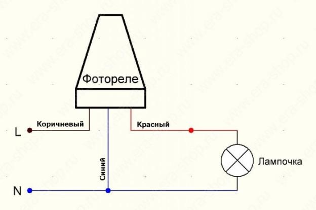 Схема подключения фотореле со встроенным датчиком