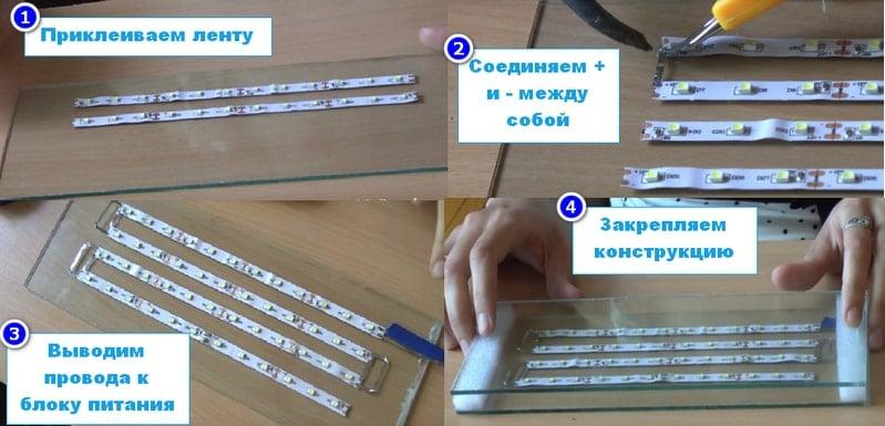 Этапы сборки светодиодной панели