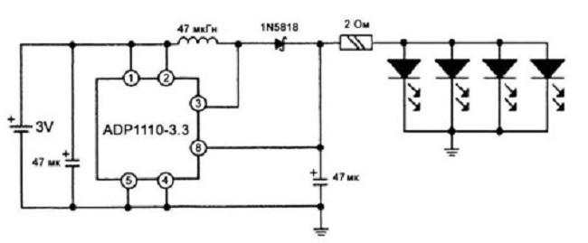 Схема со сверхярким светодиодом DFL-OSPW5111Р