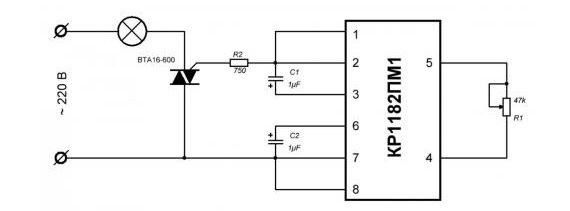 Схема УПВЛ на основе симистора
