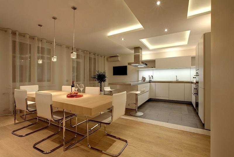 Освещение в кухне-студии