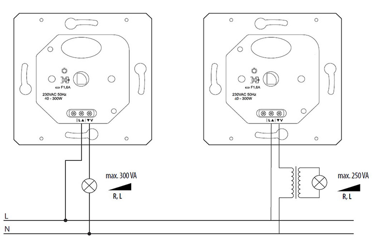 Схема установки с двумя светорегуляторами