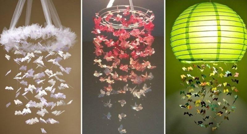 Декорирование люстры бабочками